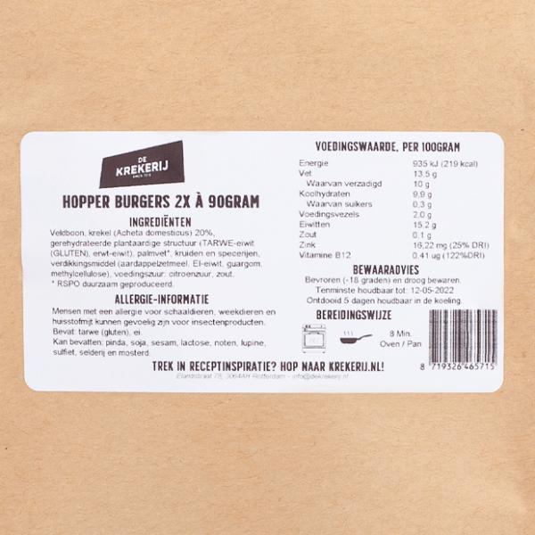 packshot label hopperburger