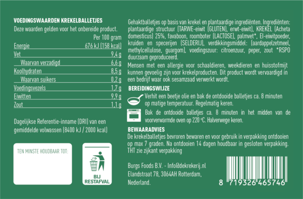 voedingswaarde krekel gehaktballetjes