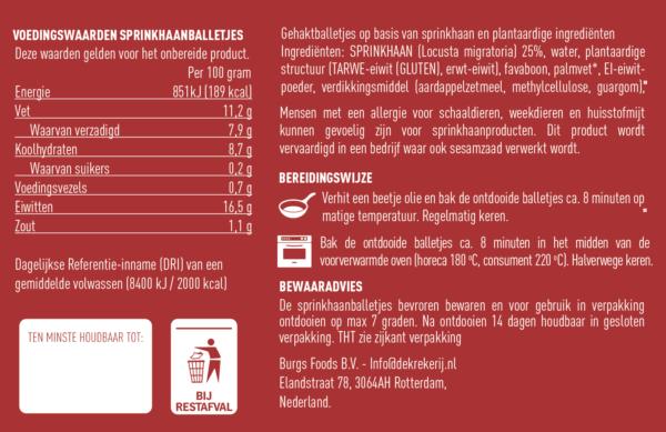 voedingswaarde van de Sprinkhaan gehaktBalletjes